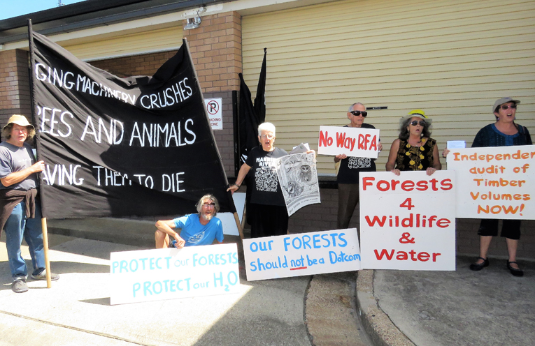 Opponents of the Regional Forest Agreements rally outside Bulahdelah Bowling Club.