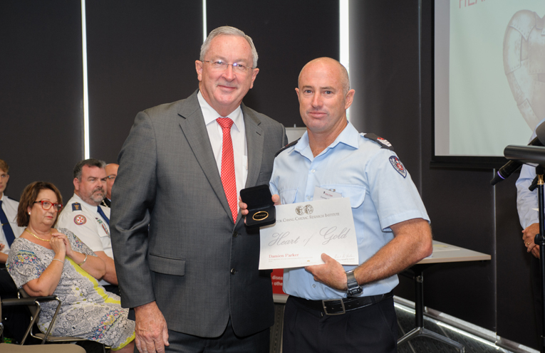 The Hon. Brad Hazzard, NSW Health Minister & Senior Firefighter Damien Parker.