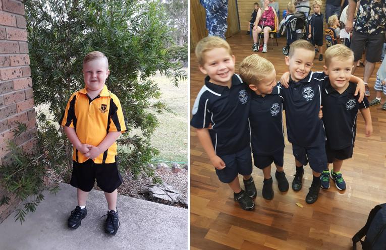 Angus Mathieson - Medowie Public School. (left) Brayden, Boston, Emmett and Rhyder - Kindy besties from Tanilba Bay Public School. (right)