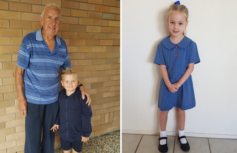 Jake Pevitt with his Great Grandfather John Pevitt. (left) Olivia Storer - Wirreanda Public School. (right)