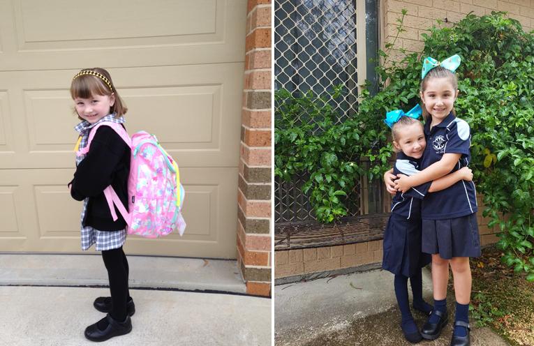 Ashley Hitchcock - Medowie Public School. (left) Nardia McCabe with big sister Olivia - Tanilba Bay Public School. (right)