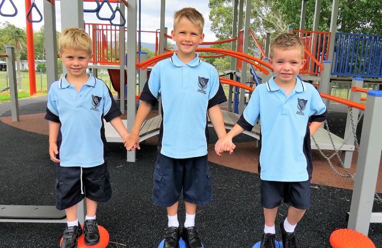 First Day of Kindergarten: Samuel Raines, Josiah Reitsma and Broadie Guthrie at Bulahdelah Central School.