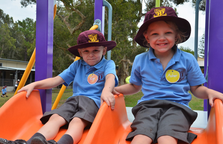 First Day: Kye and Asher at Tea Gardens Public School. Photo: TGPS