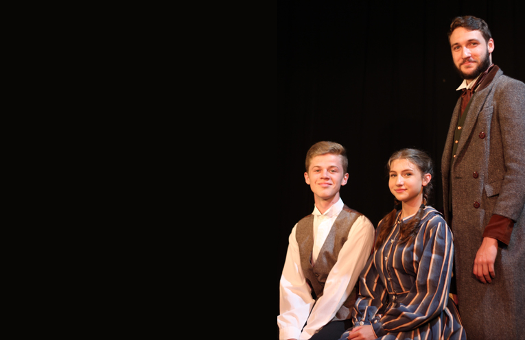 Port Stephens Performers Wesley McGrath, Jasmine Phipps and Harold Phipps starring in the cast of the Young Peoples Theaters production of Little Women.