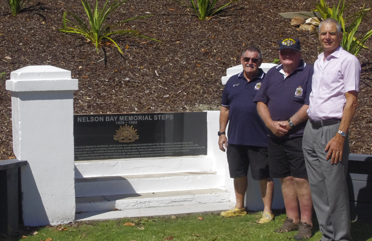 RSL Sub Branch representatives Russell Durrant, Tom Lupton and Councillor John Nell at the Memorial Steps. Photo by Marian Sampson.