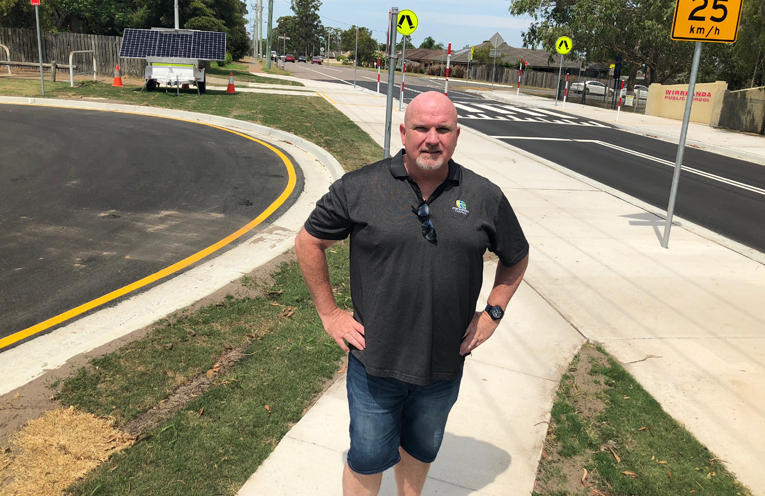 Deputy Mayor Chris Doohan visits the new Pedestrian crossing, and the cul de sac created from the original troublesome side street.