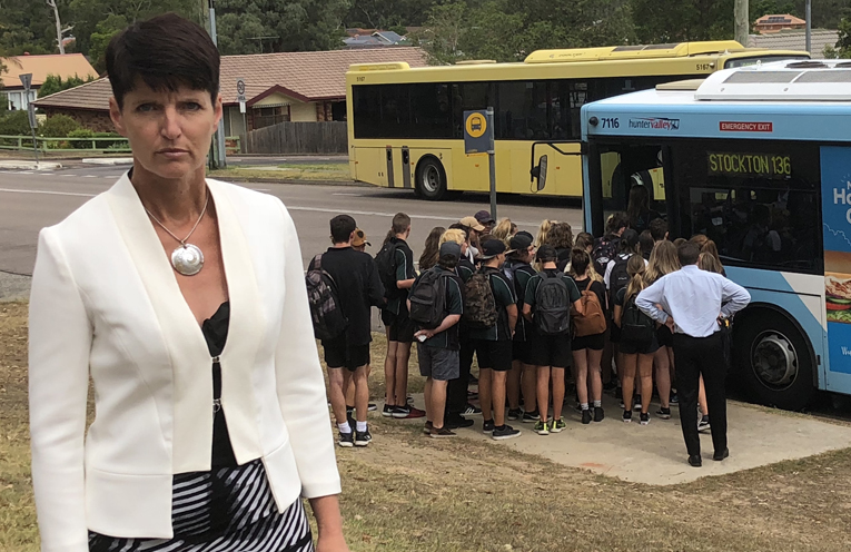 Long time campaigner for school bus safety and Member for Port Stephens, Kate Washington, is not happy with the poor bus service.