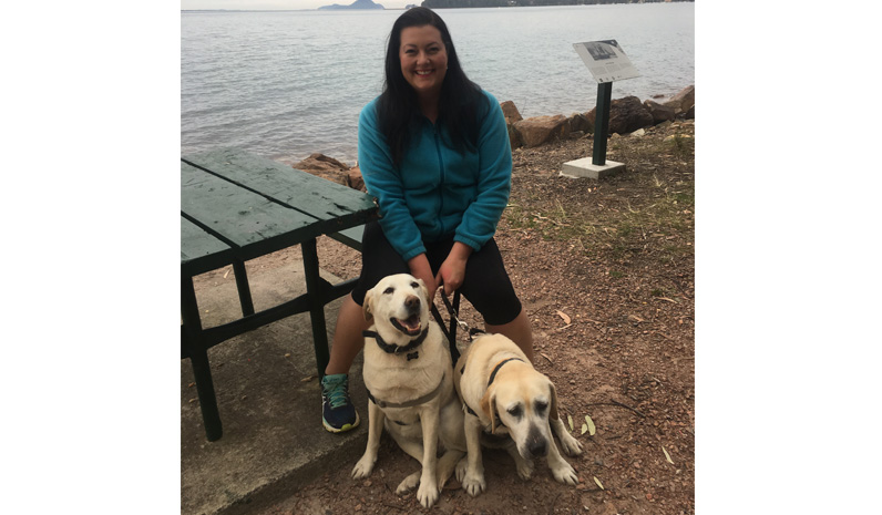 Councillor Jaimie Abbott who is a past President of Hunter Animal Rescue with Mika and Charlize.