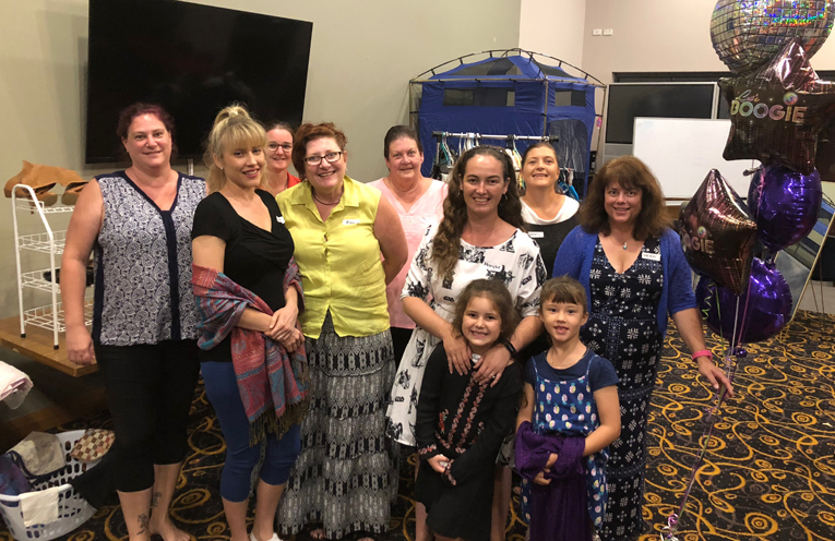 Leanne Matthews, Krystal Rowell, Michelle Slater, Kay Elliott, Diane Ryani, Maryke Lee, Jenny Phillips and Helen Lind with mini-fashionistas Leviah and Jemma.