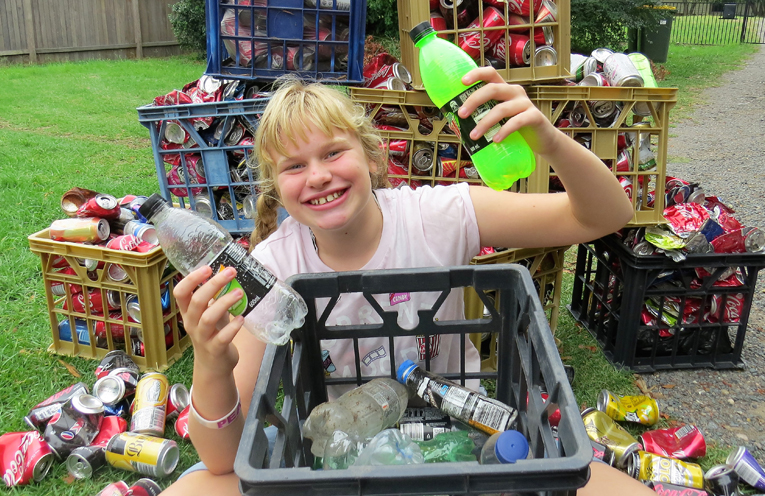 Maggie Cunich is collecting drink containers to earn some extra pocket money.
