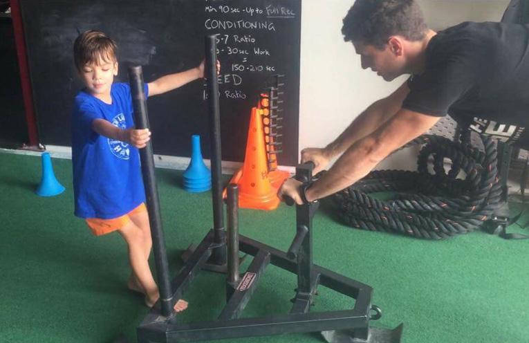 Ruben, working hard at his strength training.