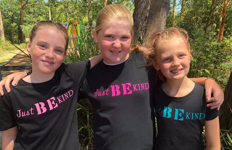 Maddison, Destiny and Mackenzie stand for kindness.