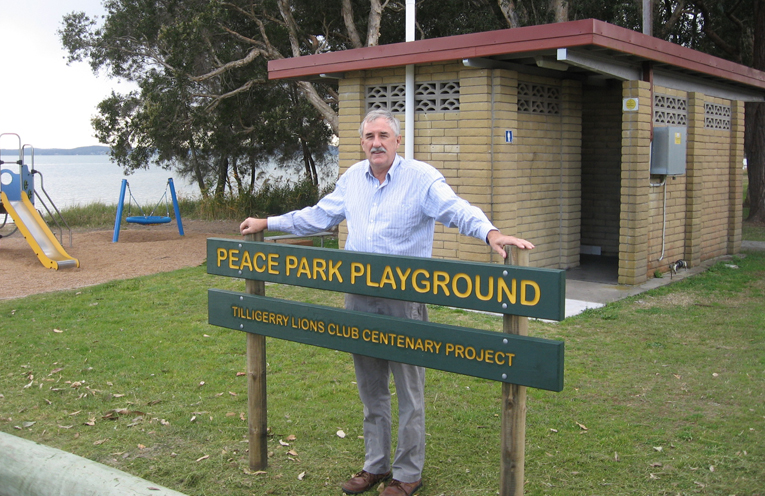 Steve Tucker at the Lions centenary park project and the new traffic island at Tanilba.