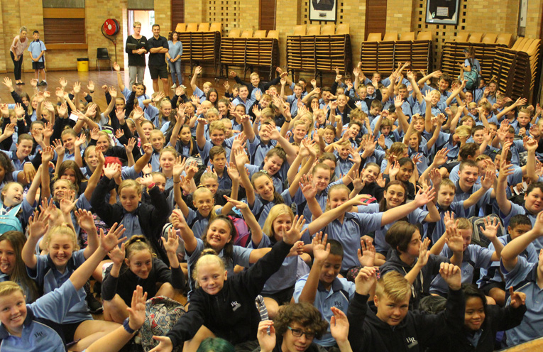 Enthusiastic Year 7 students on their first day at Hunter River High School.
