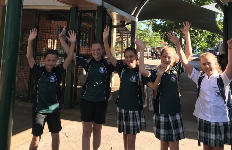 Will Scott-Glassock, Annabeth Scott-Glassock, Ebony Delafontaine, Isabelle Delafontaine, and Sibella Rowan - two sets of twins in year 7 for 2018.