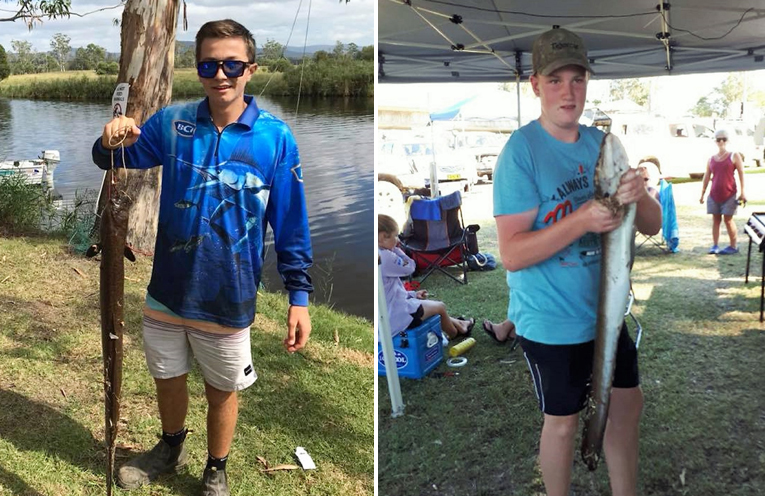Junior Eel Classic: Kobi Watt with his 3.690kg catch. (left) Junior Eel Classic: Michael Dorney landed a 3.680kg eel. (right)