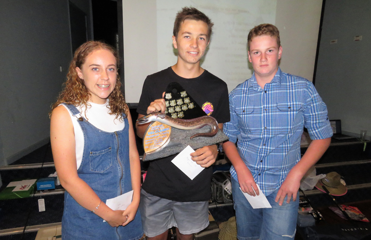 Junior Eel Classic: Lana Pringle, winner Kobi Watt and runner-up Michael Dorney.