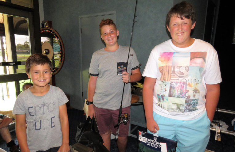 Junior Biggest Bass: Winner Jarred Baxter with Max Bignell and Dylan Powick.