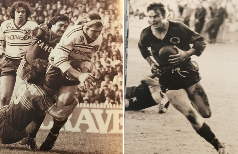 Bruce Walker on the field in his playing years. (left) Bruce Walker in his heyday. (right)