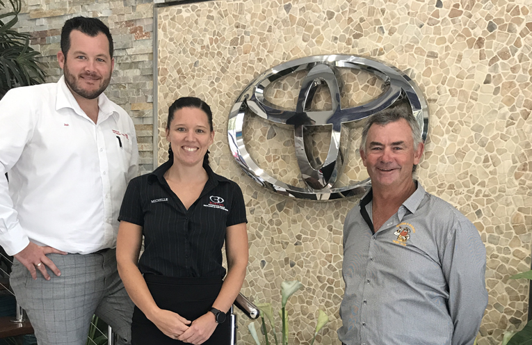 Josh Walker and Michelle Smith from Port Stephens Toyota, with Medowie Rugby President Dwayne Murphy.