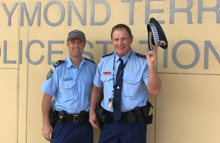 Senior Constable Luke Rogers (Lemon Tree Passage) and Chief Inspector Tony Townsend (Port Stephens LAC at Raymond Terrace) are ready for their shave for a great cause.
