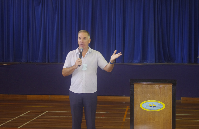 Football Great and former Newcastle Knight Michael Hagan presenting a motivational workshop to Tomaree High School students. Photo by Marian Sampson.