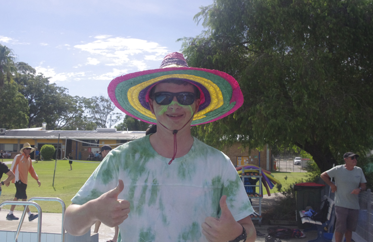 School Captain Andrew Fletcher got into the spirit of the 24U Days. Photo by Marian Sampson.