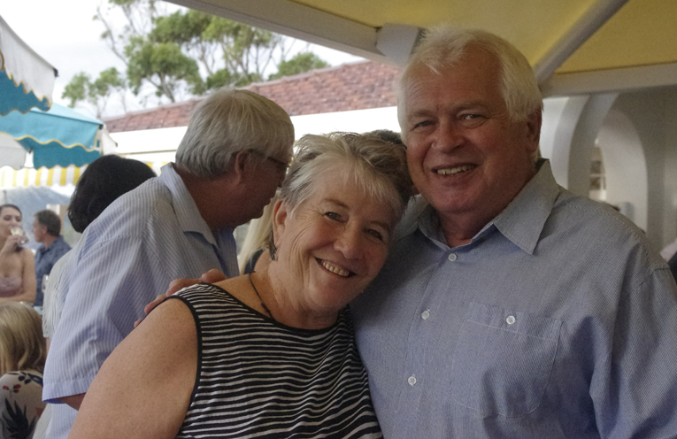 Radio Bay FM's Geoff and Jean Brown at the opening of the Shoal Bay Country Club. Photo by Marian Sampson.