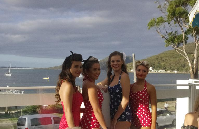 Emma Davis, Sam Schadw, Marley Reynell and Amy Cross in their 1930s swimsuits as would have been seen at the venue in its early days. Photo by Marian Sampson.