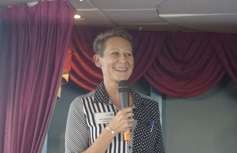 Tomaree Business Chamber President Leah Anderson spoke to local businesses on the cruise. Photo by Marian Sampson.