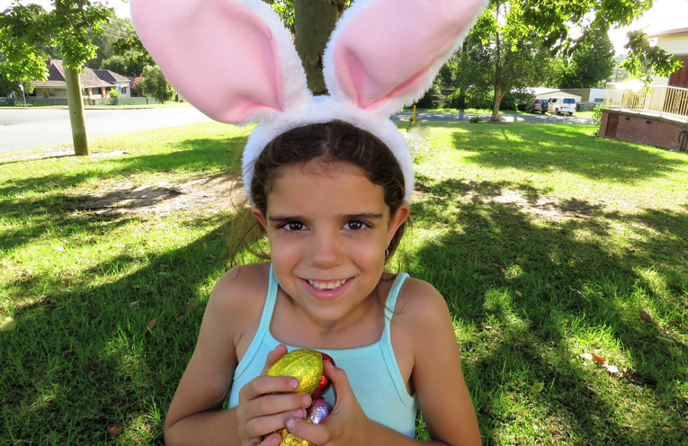 Abbiegail Ray is eggs-cited about Easter.