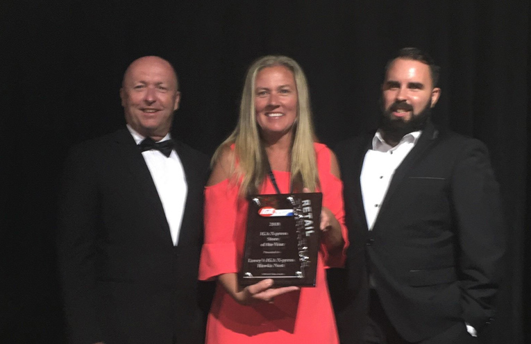 AWARD NIGHT: Lovey's Grocers Co-owner, Peter Trappel, Store Manager, Colleen Ross and Area Manager, Josh Gilmour.