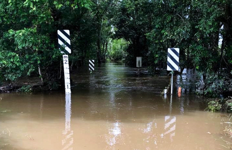 Bridges were swamped with water at Crawford River.
