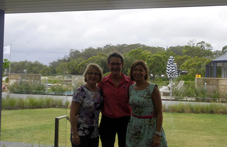 The Rotary Club of Salamander Bay Secretary, Janelle Upton, Leah Anderson and incoming President Ina George. Photo by Marian Sampson.