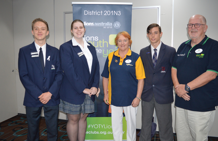 The contestants, Jaydon Maidstone, Alyssa McDonald and Jordan Tumes with Raymond Terrace Lions Club organisers.
