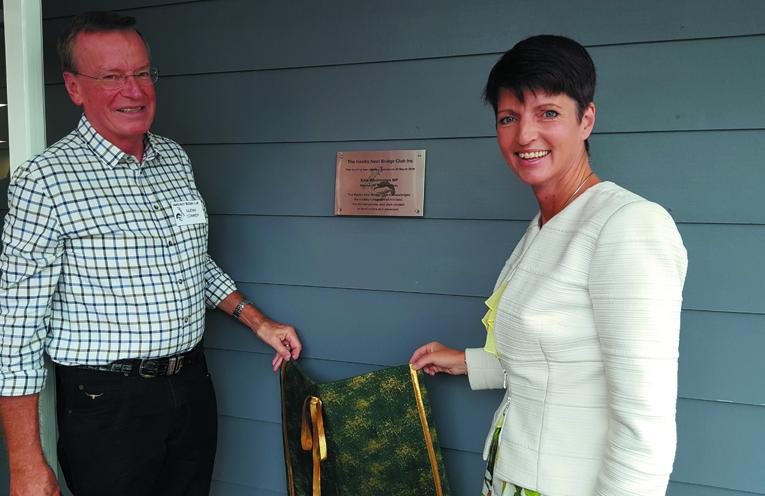 OFFICIAL OPENING;: Hawks Nest Bridge Club President Glenn Conroy and State MP for Port Stephens Kate Washington.