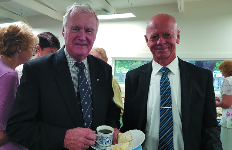 OFFICIAL CLUBHOUSE OPENING: Former Governor Rear Admiral Peter Sinclair and MidCoast Mayor David West.