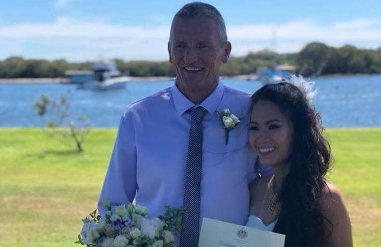 TEA GARDENS WEDDING: Daryl Neighbour and new wife Penprapa Marom.
