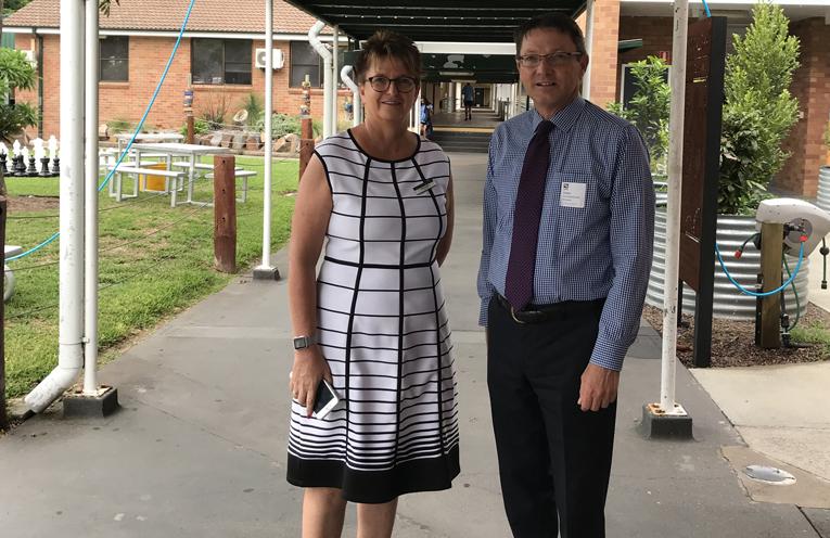 Hunter River HS Principal Deb Dibley and Scot McDonald MLC
