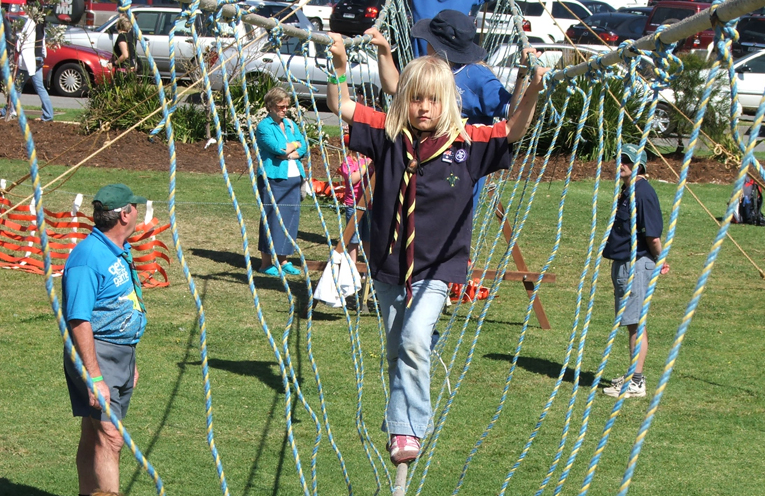Shayla Norris trying out the ropes at a Scout day.