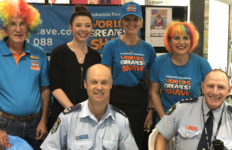 Port Stephens Police with Leukemia Foundation volunteers, centre staff and hairdressers.