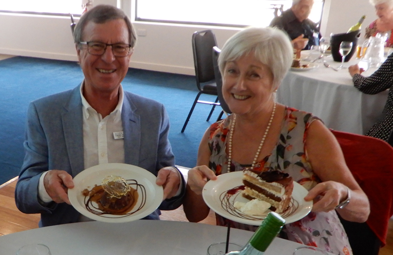 Alan and Nadia Beard enjoying the desserts at the changeover lunch.