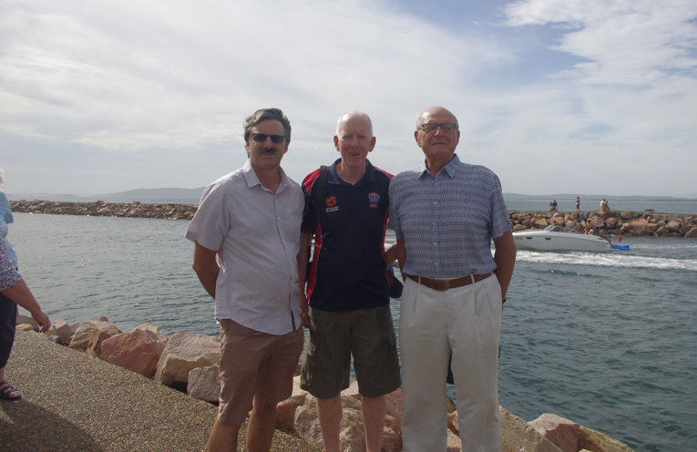 TRRA's Dick Appleby, Nigel Waters and Geoff Washington preparing to fight built heights throughout the Nelson Bay CBD on the Eastern Groin of the Nelson Bay Marina. Photo by Marian Sampson.