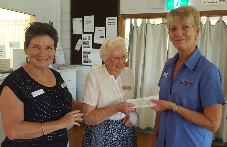 COMMUNITY TRANSPORT DONATION: Susan Burns, President of the MCACC, Joan Wilcox founding member MCACC and Sharon Hooper, Manning Valley and Area Community Transport.
