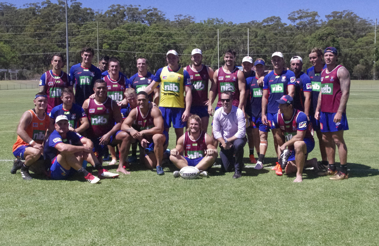 Port Stephens Mayor Ryan Palmer with the Knights at a training session. Photo by Marian Sampson.