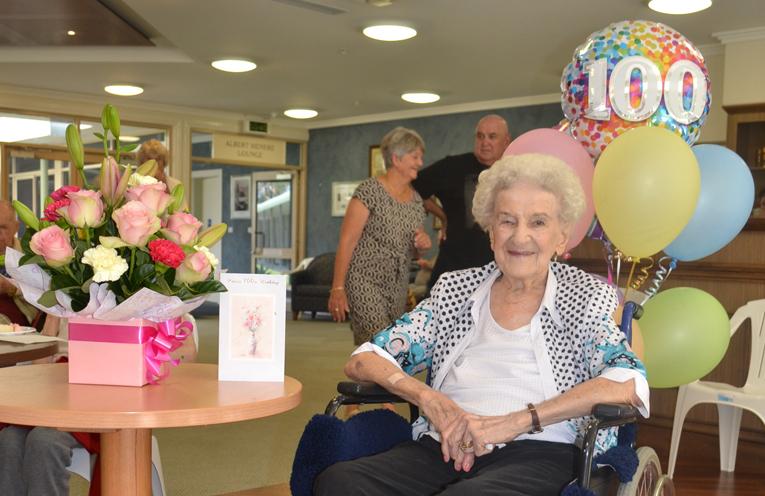 Retired member of TGWBC Jan McDonald, celebrating her 100th birthday.