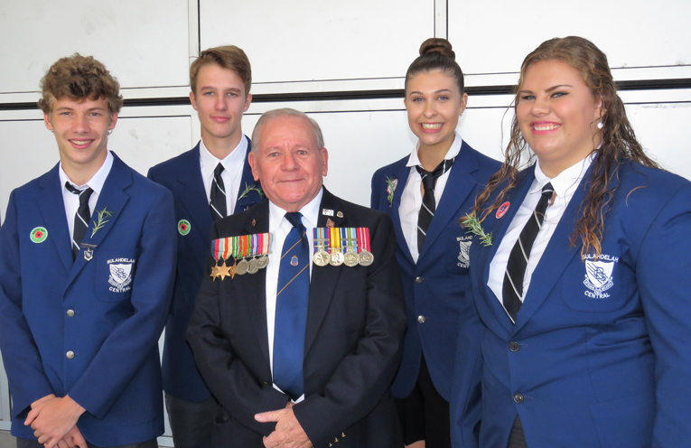 Bulahdelah RSL sub-branch President Peter Millen with Captains Zac Fletcher, Luke Rochester, Maddison Boyd and Katie Nolan.