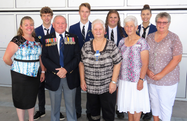 Bulahdelah RSL sub-branch President Peter Millen, Relieving Principal Deb Gilbert, invited guests and school captains.