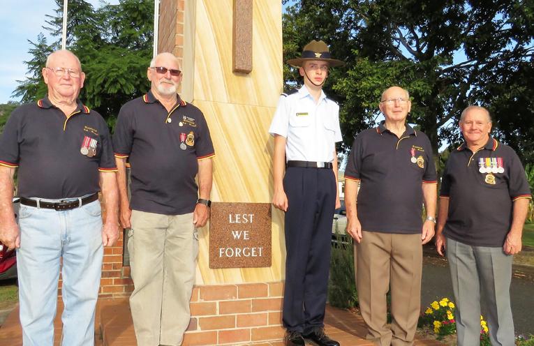 John Renfrew, Steve Newman, Max Burrows and Peter Millen with Air Force Cadet Jack Cunich.