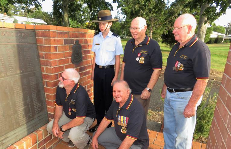 Steve Newman, Peter Millen, Cadet Jack Cunich, Max Burrows and John Renfrew read the Honour Roll at Bulahdelah Cenotaph.